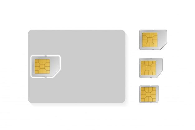 플랫 스타일의 sim 카드 개체 집합