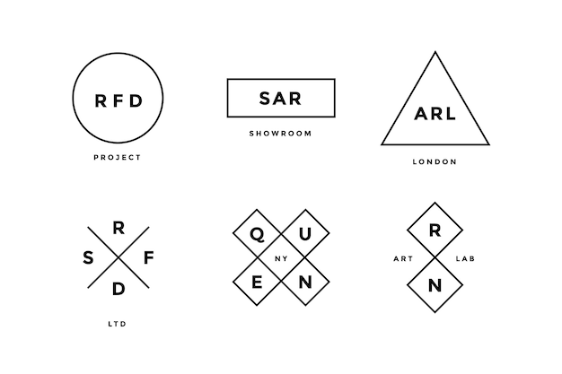 Набор простой абстрактной линии логотипа в современном минималистском стиле для компании. набор логотипов линии