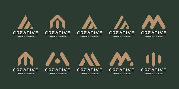 문자 m 인쇄 로고에 대한 간단하고 단단한 문자 표시 세트