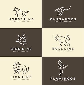 シンプルな動物のミニマリストのロゴコレクションのセット