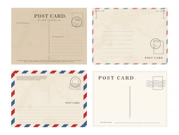 シンプルな白紙のはがきのセット