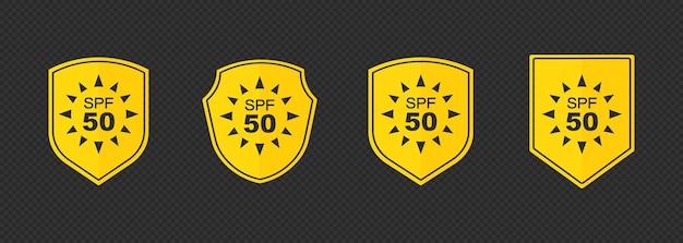 Набор простых плоских иконок защиты от солнца spf для упаковки солнцезащитного крема