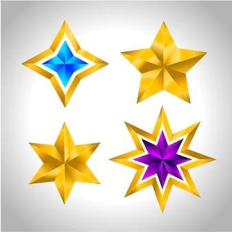 シンプルなゴールドのカラフルな星のセット
