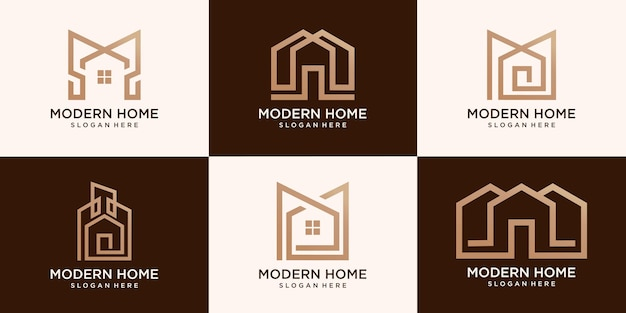 Набор простых домашних современных логотипов