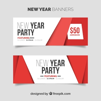 Set of simple new year banners in red and white
