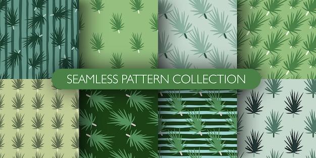 Набор простой бесшовные модели со стилизованным каракули орнаментом сосновых ветвей.
