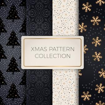 간단한 완벽 한 복고풍 골드 텍스처 크리스마스 패턴의 집합
