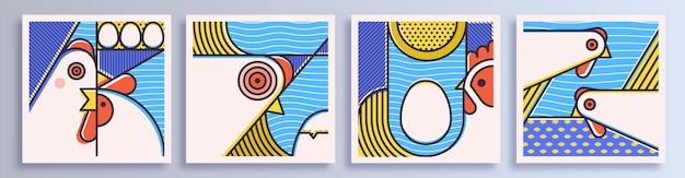 鶏とシンプルな正方形のポスターのセットです。