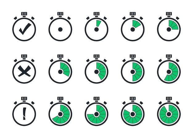 Набор простых таймеров. шаблон цифровые часы, символы таймера. набор иконок секундомера в плоский. обратный отсчет