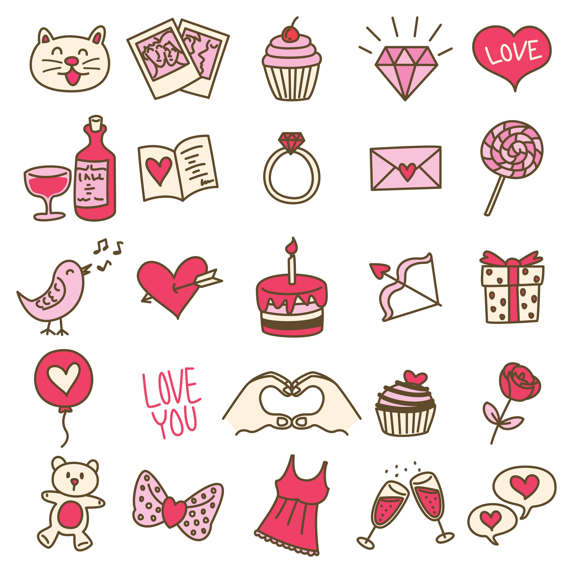 Set of simple valentine icon in doodle style