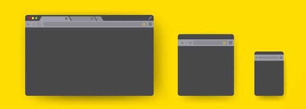 고립 된 간단한 웹 창 화면 세트
