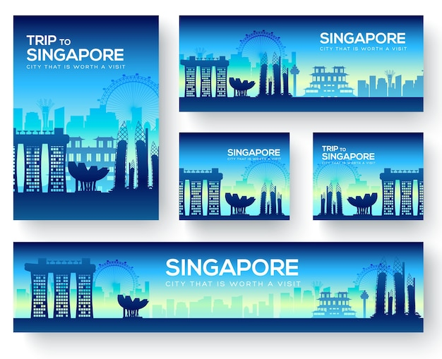 Набор туристического тура сингапура пейзаж страны орнамент