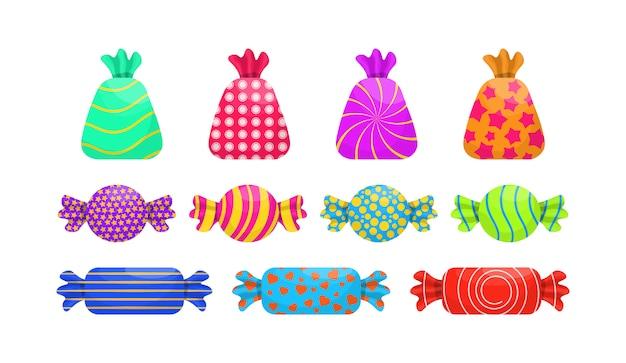 단일 만화 사탕 세트 : 롤리팝, 지팡이 사탕, 봉봉, 테디 베어 마멀레이드, 감초. 제과 또는 사탕 가게를위한 카라멜 과자 포스터. 포장 된 사탕 모듬.
