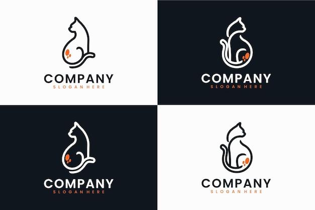 座っている猫のセット、ロゴデザインのインスピレーション