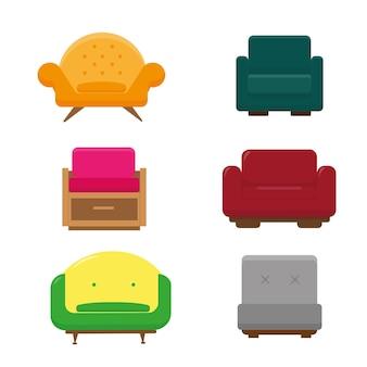 6 개의 안락 의자 세트. 거실을위한 밝은 가구 컬렉션.
