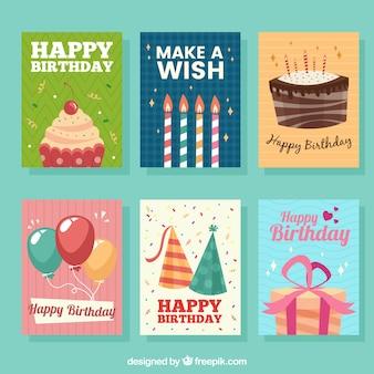 6 개의 생일 카드 세트 무료 벡터