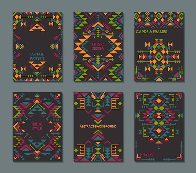 Набор из шести карт этнический орнамент с геометрическими фигурами