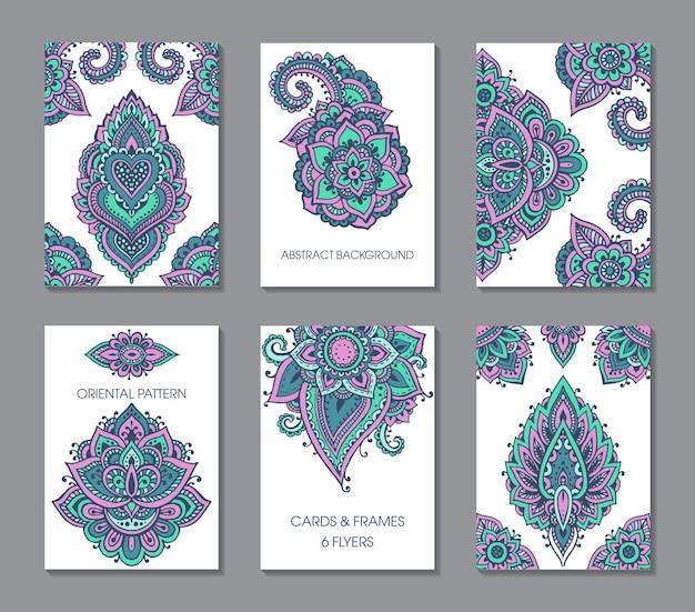 一時的な刺青の飾りが付いた6枚のカードのセット。