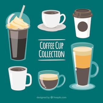 6 개의 다른 커피 컵 세트