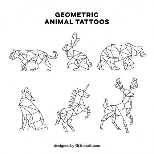 Set of six geometric animal tattoos