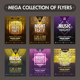 Set of six glossy flyers, templates or invitation cards design for Music Night Party celebration