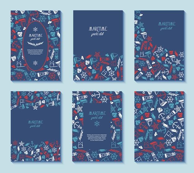 수많은 기호로 장식 된 파란색에 다른 프레임이있는 6 개의 해상 요트 클럽 포스터 세트