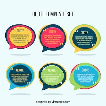 6つのメッセージスピーチバブルのセット
