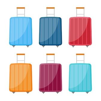 白い背景の上の荷物と6つの色とりどりの車輪付きトラベルバッグのセットです。フラットスタイルの旅のスーツケース。ベクトルイラスト