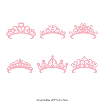Set of six princess pink crowns