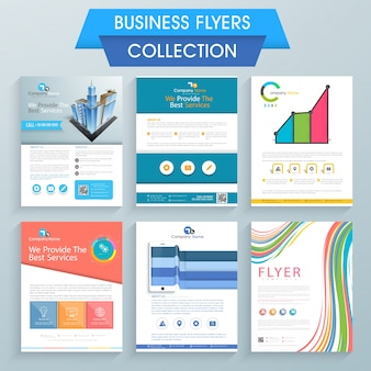 Set of six professional flyers design for your business