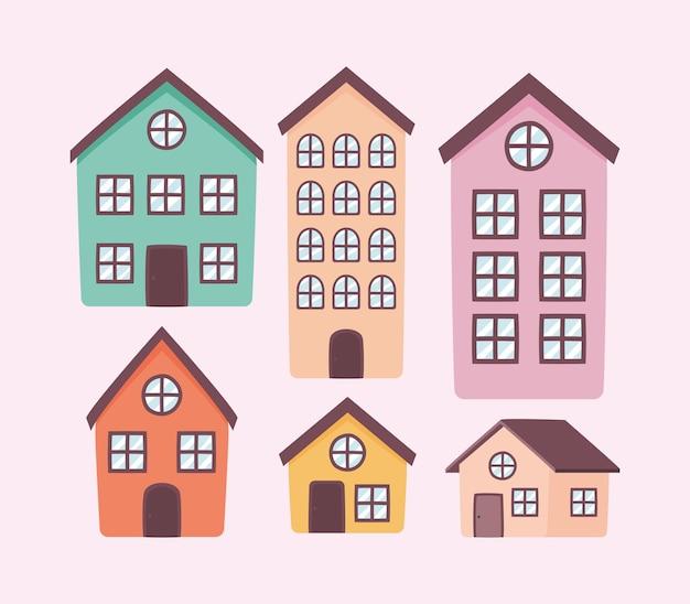 Набор из шести предметов недвижимости