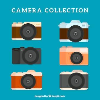 フラットデザインのレトロカメラ6セット
