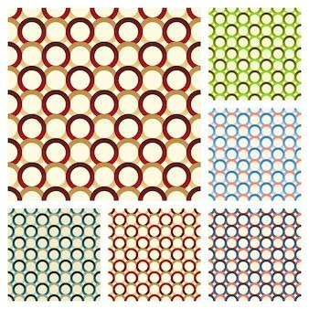 여러 가지 빛깔의 고리로 구성된 6 개의 원활한 패턴 집합입니다.