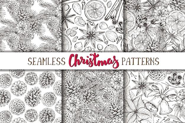 소나무 콘과 함께 6 개의 완벽 한 패턴의 집합