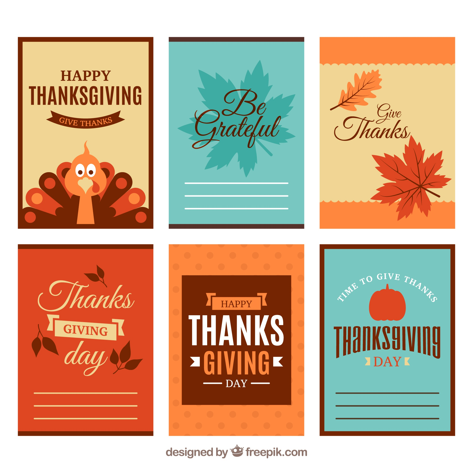 Set of six thanksgiving cards