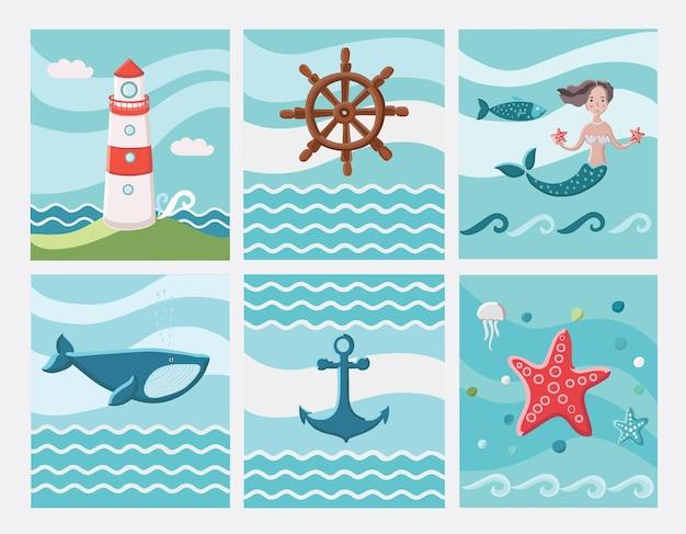 6つのベクトル航海カラーardのセット