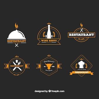 6つのヴィンテージレストランロゴのセット