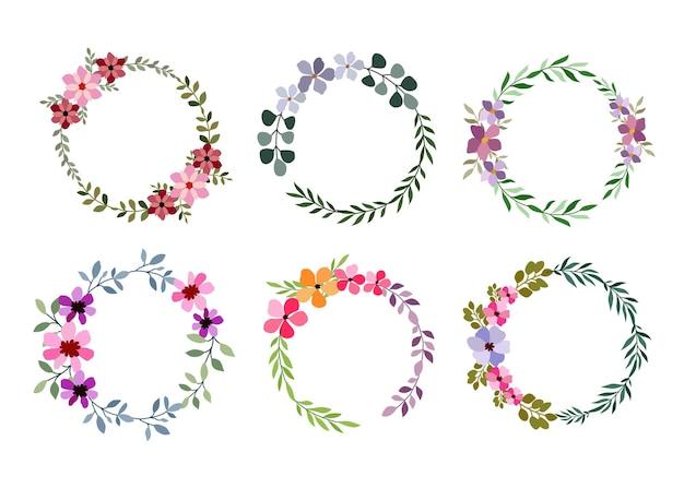 白の6つの水彩花フレームのセット