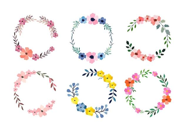 화이트에 6 개의 수채화 꽃 프레임 세트