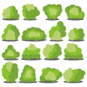 흰색 배경에 고립 된 16 개의 다른 만화 녹색 덤 불의 집합입니다. 벡터 일러스트 레이 션