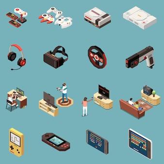 Набор из шестнадцати изолированных игровых геймеров изометрических иконок со старинными приставками, игровыми аксессуарами и современными гаджетами