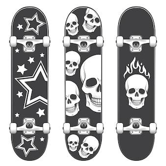 スケートボードの背景のセットです。スケートボードデザインモノクロスタイル