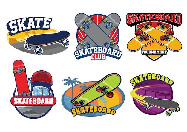 白で隔離のスケートボードバッジデザインのセット
