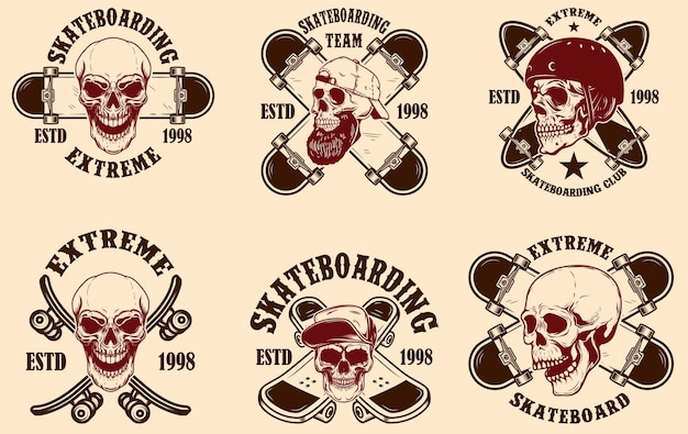 Набор эмблем скейтбордингового клуба с черепами. элемент дизайна для плаката, логотипа, знака, этикетки, футболки.