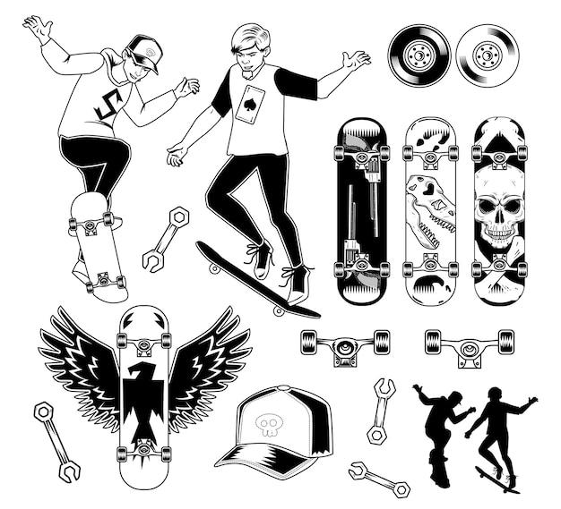 스케이트 보드 요소 집합 무료 벡터