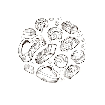 Набор эскиз укушенных конфет. сладкие роллы, батончики, глазированные, какао-бобы. изолированные объекты, расположенные вокруг на белом