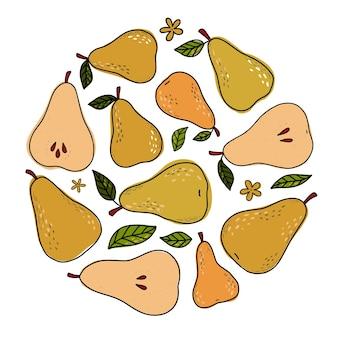 Набор набросал груш и листьев