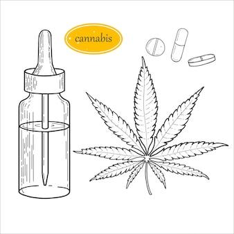 マリファナアイテムのスケッチのセット、麻の葉。サティバ、インディカマリファナ、薬草、ポットを合法化します。医療用ボトル