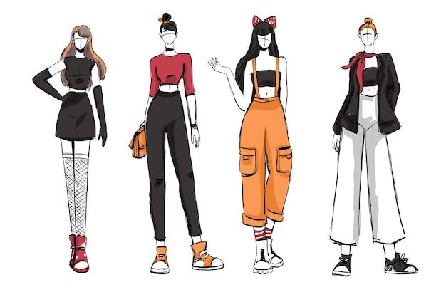 美しく多様な女性のファッション衣装のスケッチのセット。