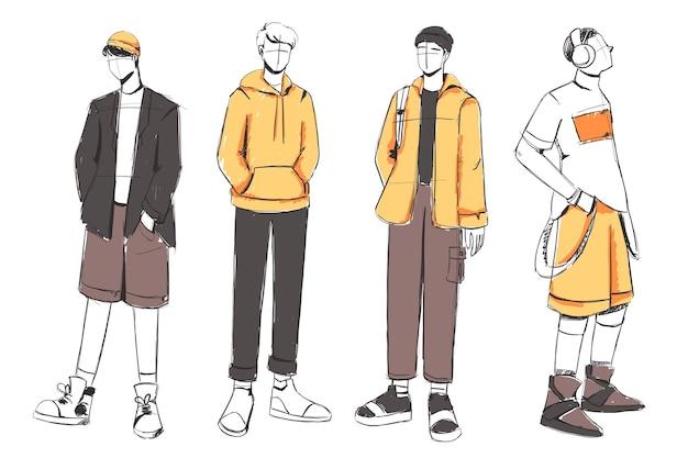 美しく多様な男のファッション衣装のスケッチのセット